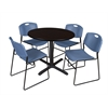 "Cain 36"" Round Breakroom Table- Mocha Walnut & 4 Zeng Stack Chairs- Blue"