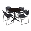 "Cain 36"" Round Breakroom Table- Mocha Walnut & 4 Zeng Stack Chairs- Black"