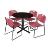 "Cain 36"" Round Breakroom Table- Mocha Walnut & 4 Zeng Stack Chairs- Burgundy"