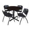 "Cain 36"" Round Breakroom Table- Mocha Walnut & 4 'M' Stack Chairs- Black"