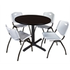 "Cain 36"" Round Breakroom Table- Mocha Walnut & 4 'M' Stack Chairs- Grey"