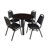 "Kee 36"" Round Breakroom Table- Mocha Walnut/ Black & 4 Restaurant Stack Chairs- Black"