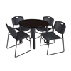 "Kee 36"" Round Breakroom Table- Mocha Walnut/ Black & 4 Zeng Stack Chairs- Black"