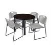 "Kee 36"" Round Breakroom Table- Mocha Walnut/ Black & 4 Zeng Stack Chairs- Grey"