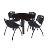 "Kee 36"" Round Breakroom Table- Mocha Walnut/ Black & 4 'M' Stack Chairs- Black"