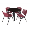 "Kee 36"" Round Breakroom Table- Mocha Walnut/ Black & 4 'M' Stack Chairs- Burgundy"