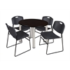 "Kee 36"" Round Breakroom Table- Mocha Walnut/ Chrome & 4 Zeng Stack Chairs- Black"