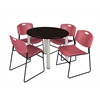 "Kee 36"" Round Breakroom Table- Mocha Walnut/ Chrome & 4 Zeng Stack Chairs- Burgundy"