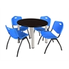 "Kee 36"" Round Breakroom Table- Mocha Walnut/ Chrome & 4 'M' Stack Chairs- Blue"
