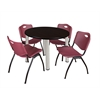 "Kee 36"" Round Breakroom Table- Mocha Walnut/ Chrome & 4 'M' Stack Chairs- Burgundy"