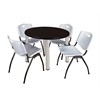 "Kee 36"" Round Breakroom Table- Mocha Walnut/ Chrome & 4 'M' Stack Chairs- Grey"