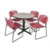 "Cain 36"" Round Breakroom Table- Maple & 4 Zeng Stack Chairs- Burgundy"