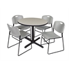 "Cain 36"" Round Breakroom Table- Maple & 4 Zeng Stack Chairs- Grey"