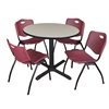 "Cain 36"" Round Breakroom Table- Maple & 4 'M' Stack Chairs- Burgundy"