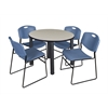 "Kee 36"" Round Breakroom Table- Maple/ Black & 4 Zeng Stack Chairs- Blue"