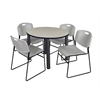 "Kee 36"" Round Breakroom Table- Maple/ Black & 4 Zeng Stack Chairs- Grey"