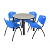 "Kee 36"" Round Breakroom Table- Maple/ Black & 4 'M' Stack Chairs- Blue"