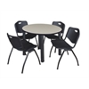 "Kee 36"" Round Breakroom Table- Maple/ Black & 4 'M' Stack Chairs- Black"