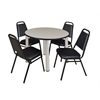 "Kee 36"" Round Breakroom Table- Maple/ Chrome & 4 Restaurant Stack Chairs- Black"