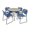 "Kee 36"" Round Breakroom Table- Maple/ Chrome & 4 Zeng Stack Chairs- Blue"