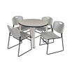 "Kee 36"" Round Breakroom Table- Maple/ Chrome & 4 Zeng Stack Chairs- Grey"