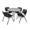 "Kee 36"" Round Breakroom Table- Maple/ Chrome & 4 'M' Stack Chairs- Black"