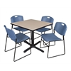 "Cain 42"" Square Breakroom Table- Beige & 4 Zeng Stack Chairs- Blue"