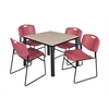 "Kee 42"" Square Breakroom Table- Beige/ Black & 4 Zeng Stack Chairs- Burgundy"