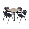 "Kee 42"" Square Breakroom Table- Beige/ Black & 4 'M' Stack Chairs- Black"