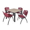 "Kee 42"" Square Breakroom Table- Beige/ Black & 4 'M' Stack Chairs- Burgundy"