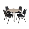 "Kee 42"" Square Breakroom Table- Beige/ Chrome & 4 Restaurant Stack Chairs- Black"