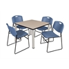 "Kee 42"" Square Breakroom Table- Beige/ Chrome & 4 Zeng Stack Chairs- Blue"