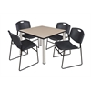 "Kee 42"" Square Breakroom Table- Beige/ Chrome & 4 Zeng Stack Chairs- Black"