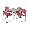 "Kee 42"" Square Breakroom Table- Beige/ Chrome & 4 Zeng Stack Chairs- Burgundy"