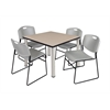 "Kee 42"" Square Breakroom Table- Beige/ Chrome & 4 Zeng Stack Chairs- Grey"