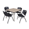 "Kee 42"" Square Breakroom Table- Beige/ Chrome & 4 'M' Stack Chairs- Black"