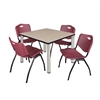 "Kee 42"" Square Breakroom Table- Beige/ Chrome & 4 'M' Stack Chairs- Burgundy"