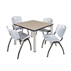 "Kee 42"" Square Breakroom Table- Beige/ Chrome & 4 'M' Stack Chairs- Grey"