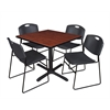 "Cain 42"" Square Breakroom Table- Cherry & 4 Zeng Stack Chairs- Black"