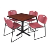 "Cain 42"" Square Breakroom Table- Cherry & 4 Zeng Stack Chairs- Burgundy"