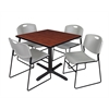 "Cain 42"" Square Breakroom Table- Cherry & 4 Zeng Stack Chairs- Grey"