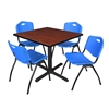 "Cain 42"" Square Breakroom Table- Cherry & 4 'M' Stack Chairs- Blue"
