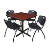 "Cain 42"" Square Breakroom Table- Cherry & 4 'M' Stack Chairs- Black"