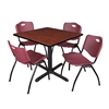 "Cain 42"" Square Breakroom Table- Cherry & 4 'M' Stack Chairs- Burgundy"