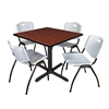 "Cain 42"" Square Breakroom Table- Cherry & 4 'M' Stack Chairs- Grey"