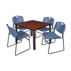 "Kee 42"" Square Breakroom Table- Cherry/ Black & 4 Zeng Stack Chairs- Blue"