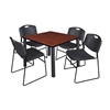 "Kee 42"" Square Breakroom Table- Cherry/ Black & 4 Zeng Stack Chairs- Black"