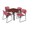"Kee 42"" Square Breakroom Table- Cherry/ Black & 4 Zeng Stack Chairs- Burgundy"