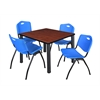 "Kee 42"" Square Breakroom Table- Cherry/ Black & 4 'M' Stack Chairs- Blue"