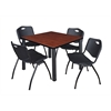 "Kee 42"" Square Breakroom Table- Cherry/ Black & 4 'M' Stack Chairs- Black"